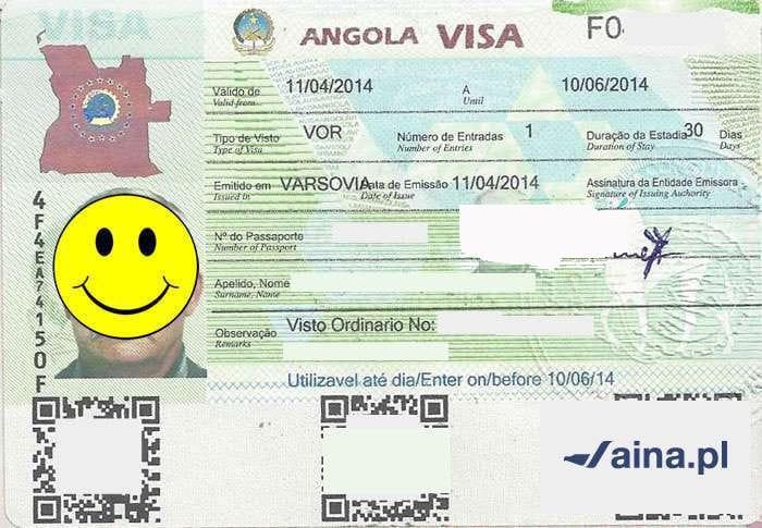 Zdjęcie wizy do Angoli
