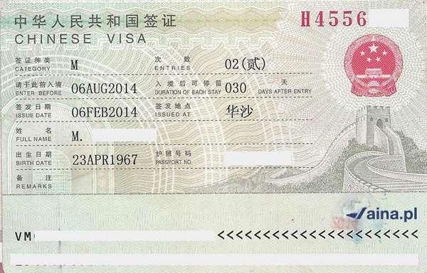 Zdjęcie wizy do Chin