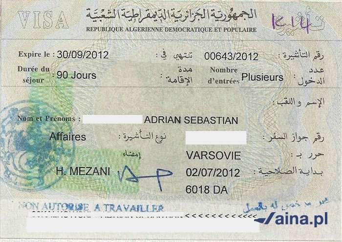 Zdjęcie wizy do Algierii