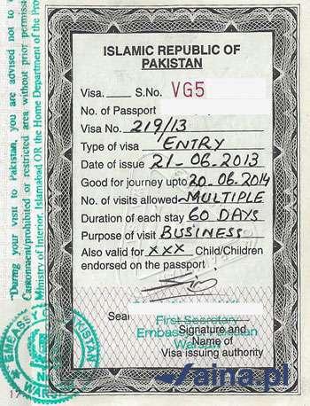Zdjęcie wizy do Pakistanu