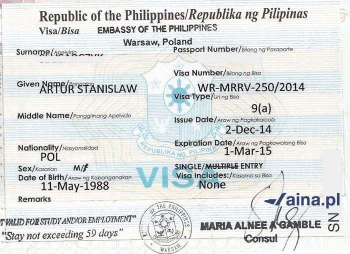 Zdjęcie wizy na Filipiny